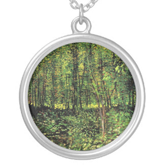 Trees and Undergrowth by Vincent van Gogh Silver Plated Necklace
