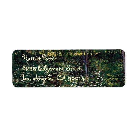 Trees and Undergrowth Van Gogh Fine Art Return Address Label