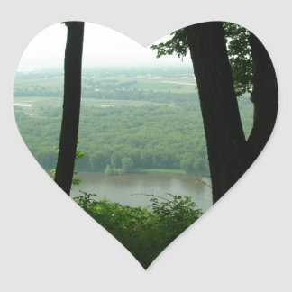 Trees at Wyalusing State Park - River Down Below Heart Sticker