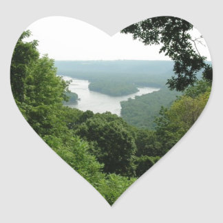 Trees at Wyalusing State Park - River Down Below Heart Stickers