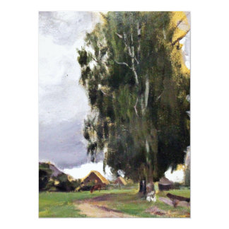 Trees Beside a Village 14 Cm X 19 Cm Invitation Card
