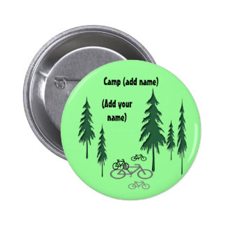 trees, bicycles, (Add yourname), Camp (add name) 6 Cm Round Badge