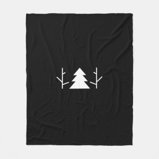 Trees Black Minimalist Blanket