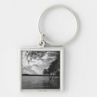 Trees by lake B&W Key Ring