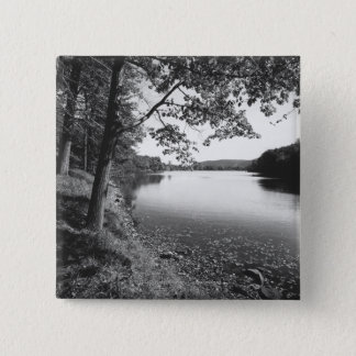 Trees by river B&W 15 Cm Square Badge