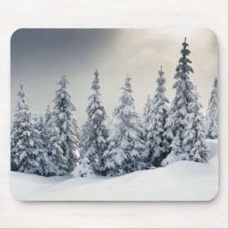 Trees Covered With Hoarfrost And Snow Mouse Mat