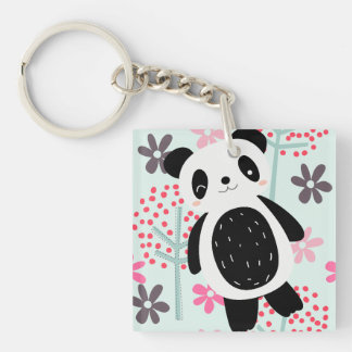 Trees, Flowers, and Panda Bears Double-Sided Square Acrylic Key Ring