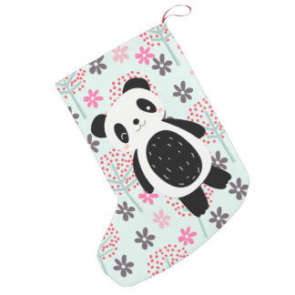 Trees, Flowers, and Panda Bears Small Christmas Stocking