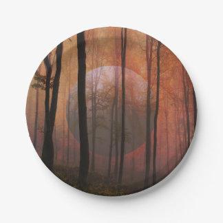 Trees Forest Planet Surreal Landscape Art Paper Plate