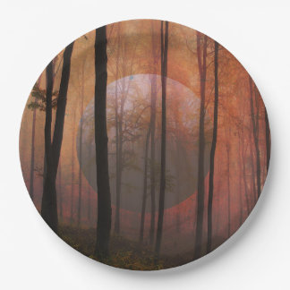 Trees Forest Planet Surreal Landscape Art Paper Plate