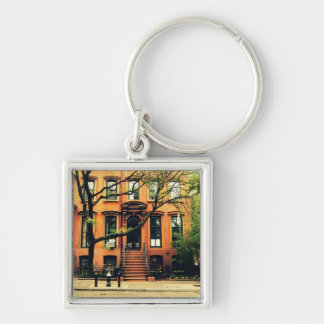 Trees Grow in Brooklyn Silver-Colored Square Key Ring