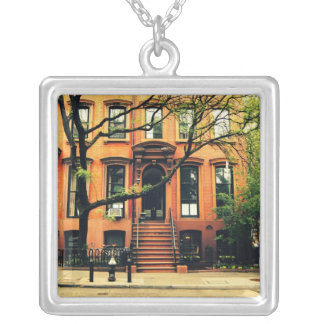 Trees Grow in Brooklyn Square Pendant Necklace