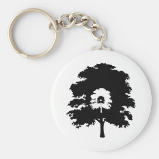 Trees in a line basic round button key ring