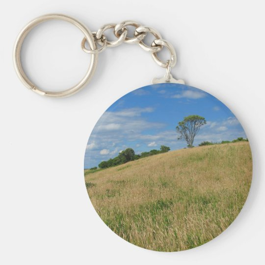 Trees in a Wheat Field Basic Round Button Key Ring