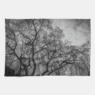 Trees in black and white kitchen towel