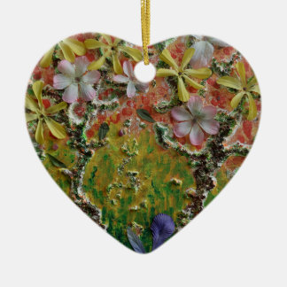 Trees in bloom ceramic heart decoration