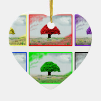 Trees in colour ceramic heart decoration