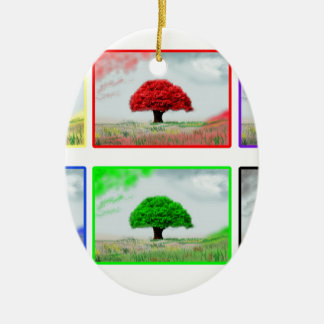 Trees in colour ceramic oval decoration