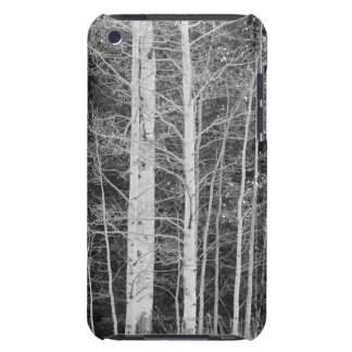 Trees in forest during winter barely there iPod case