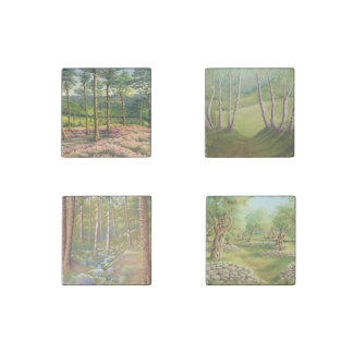 Trees in Pastel-Pine, Birch, Olive Marble Magnets