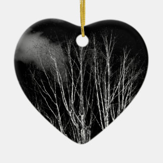 Trees in the black and white ceramic heart decoration