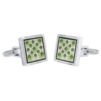 Trees in the Mist Silver Finish Cufflinks