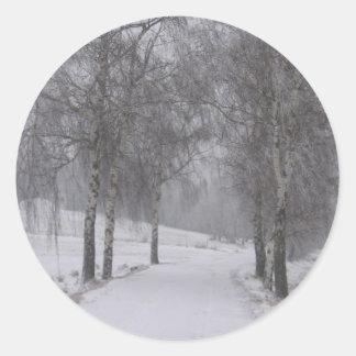 Trees in Winter Round Sticker