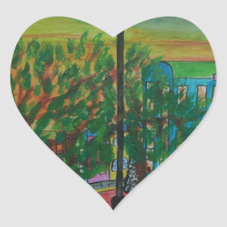 Trees on the Quayside Heart Sticker