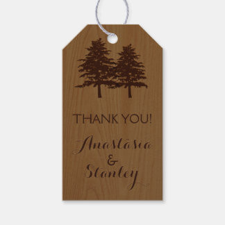 Trees on wood woodland wedding Thank You Gift Tags