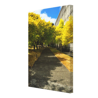 Trees Over Footpath Wrapped Canvas Stretched Canvas Print