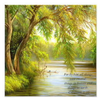 Trees over water art photo