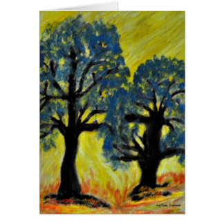 Trees Shimmer in Afternoon Sun on Autumn Day Greeting Card