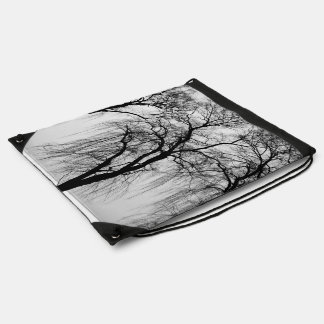 Trees silhouettes in winter cinch bag