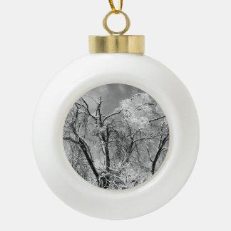 trees wear winter ceramic ball decoration