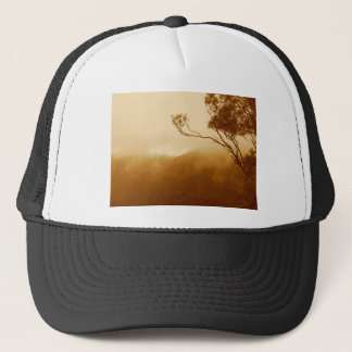 Treetop and fog trucker hat