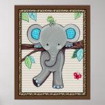 Treetop Jungle Buddies. Elephant Nursery Art Poster