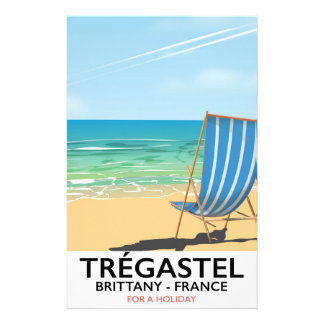 Trégastel, Brittany France beach travel poster Stationery