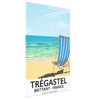 Trégastel, Brittany France beach vacation poster Canvas Print