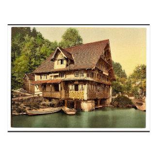 Treib, chalet on lake, Lake Lucerne, Switzerland c Postcard