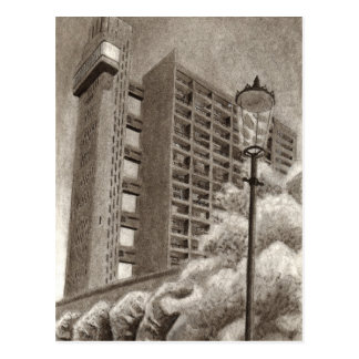 Trellick Tower original drawing Postcard