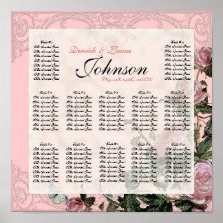 Trellis Rose Vintage - Table Seating Chart Print