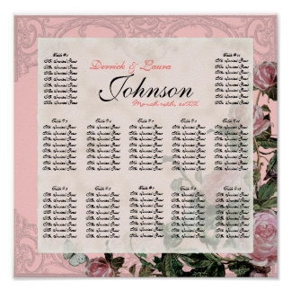 Trellis Rose Vintage - Table Seating Chart Print
