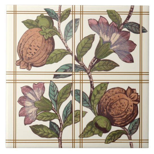 Trellis with Fruit & Flowers Repro Victorian Tile