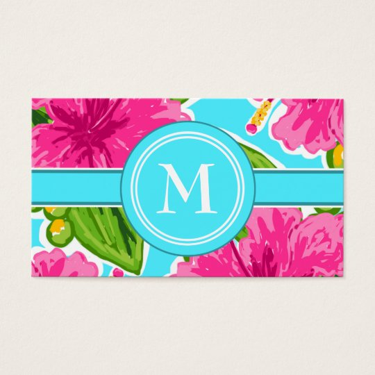 Trending Teal and Pink Tropical Floral Initial Business