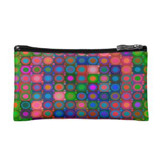 Trendy Abstract Art Colored Circle Grid Makeup Bag