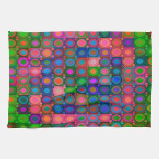 Trendy Abstract Art Colored Circle Grid Tea Towel