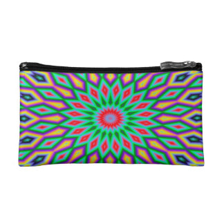 Trendy Abstract-Art Green And Blue Pattern Makeup Bag