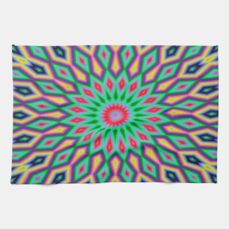 Trendy Abstract-Art Green And Blue Pattern Tea Towel