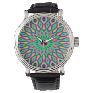 Trendy Abstract-Art Green And Blue Pattern Watch