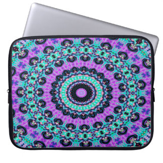 Trendy Abstract Art Purple And Blue Concentric Cir Laptop Sleeve